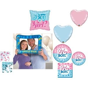 Gender Reveal Boy Party Kit Plates Balloons Decor